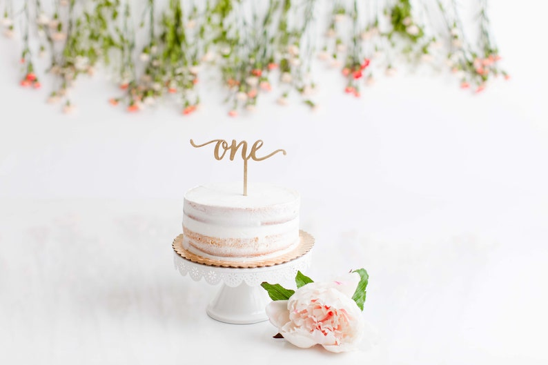 First Birthday ONE Cake Topper  Laser Cut Wood  Modern image 0