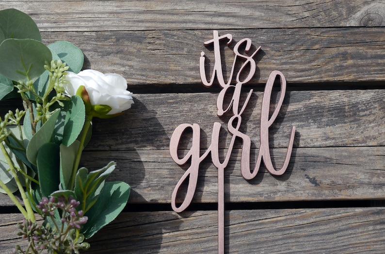 It's a Girl Cake Topper  Laser Cut Wood  Its a Girl Baby image 0