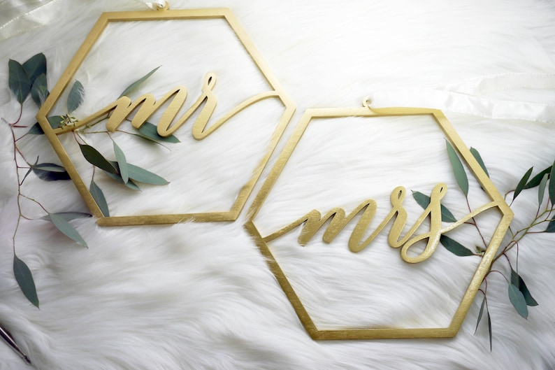 Mr Mrs Geometric Hexagon Laser Cut Wood Chair Signs  Wedding image 0