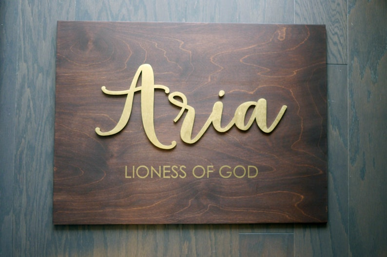 Personalized Name with Meaning on Wood Plaque  Laser Cut Wood image 0