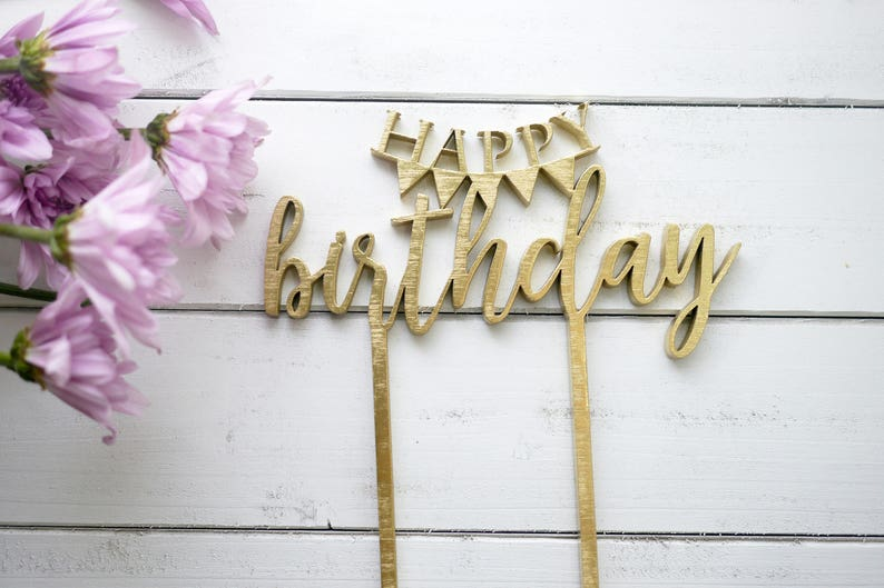 Happy Birthday Banner Cake Topper  Laser Cut Wood  Bunting image 0