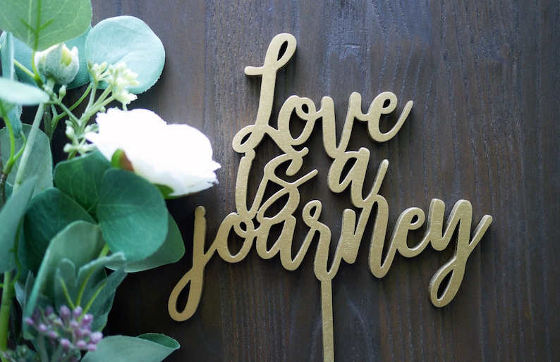 Love Is A Journey Wedding Cake Topper  Laser Cut Wood  image 0