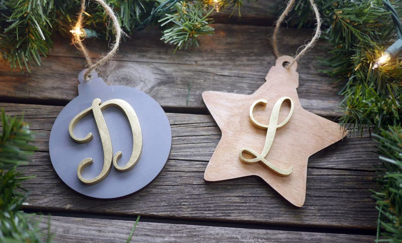 Personalized Christmas Tree Wooden Ornaments  Laser Cut image 0
