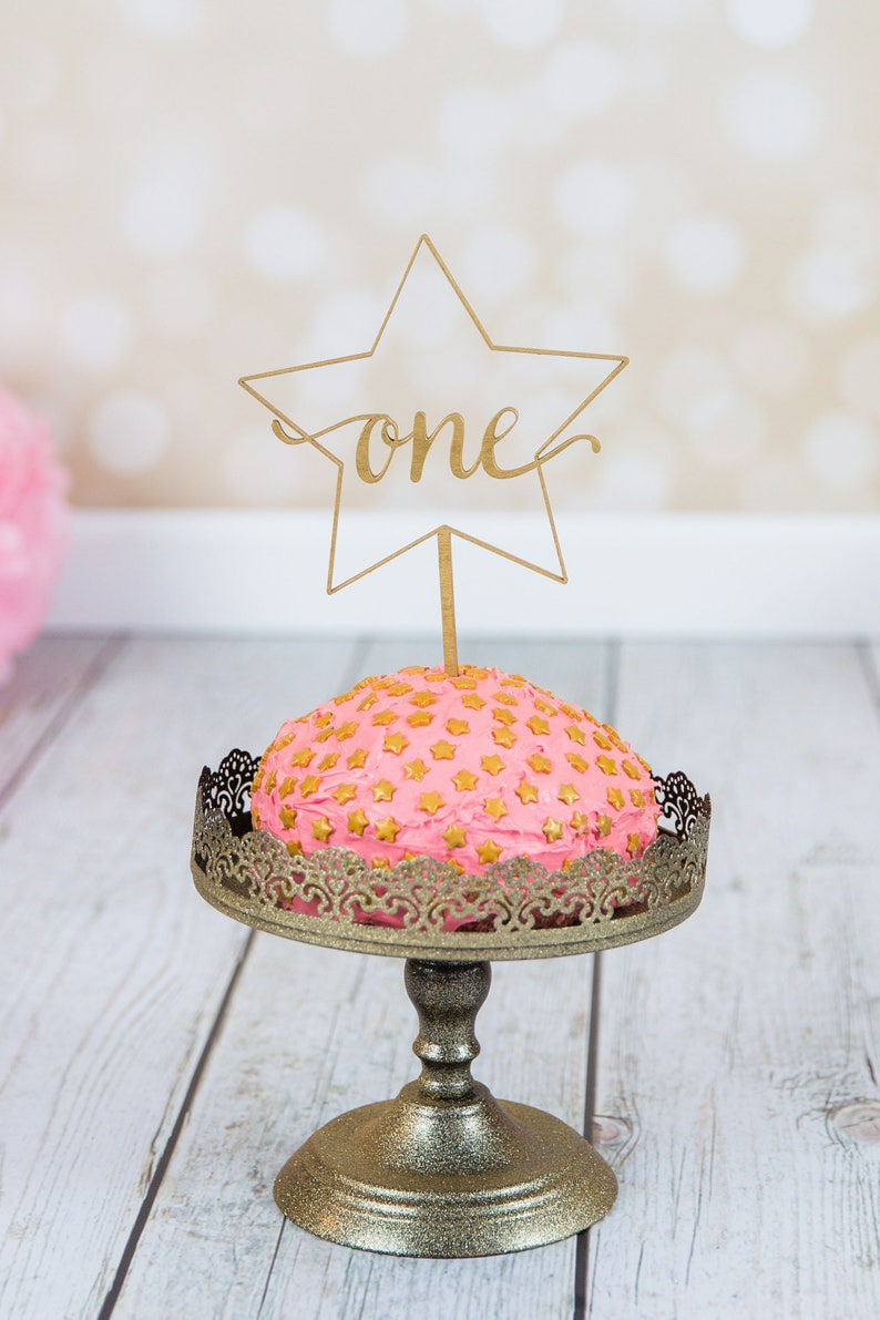 First Birthday One Star Cake Topper  Laser Cut image 0