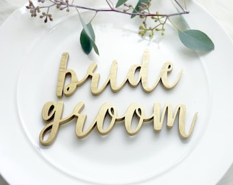 Bride and Groom Laser Cut Wood Place Settings | Wedding Place Card | Wedding Signs | Unique Wedding Decor | Modern Calligraphy