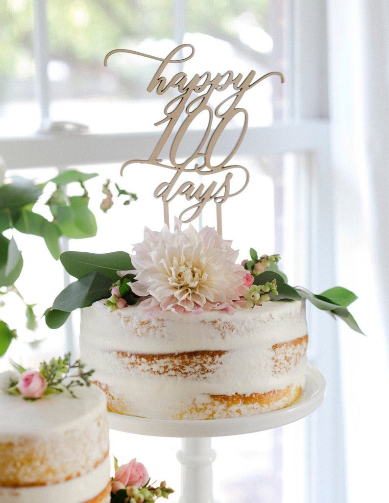Happy 100 Days Cake Topper  100th Day Cake Topper  Modern image 0