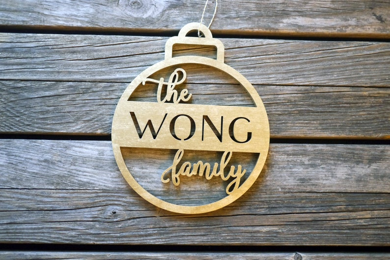 Personalized Family Name Christmas Tree Ornaments  Laser Cut image 0