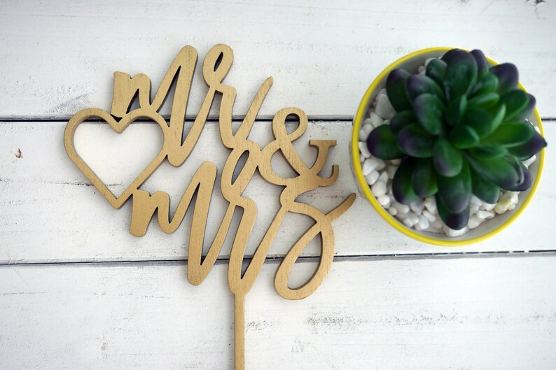 Mr and Mrs Cake Topper  Laser Cut Wood  Engagement Cake image 0