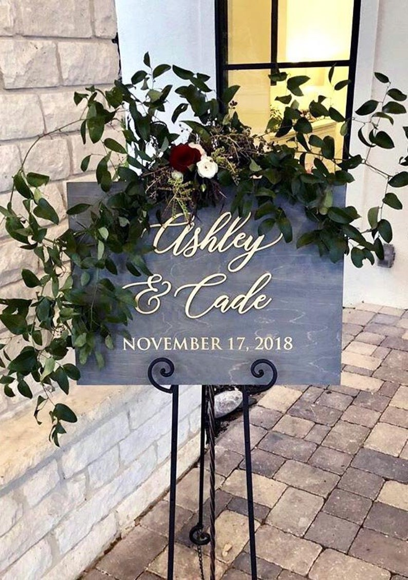 Personalized Unique First Names and Wedding Date Sign  Laser image 0