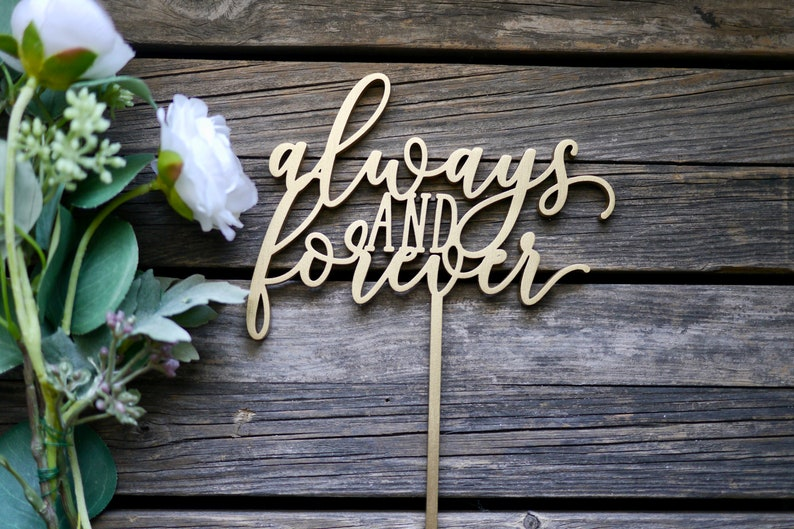 Always and Forever Wedding Cake Topper  Laser Cut Wood  image 0