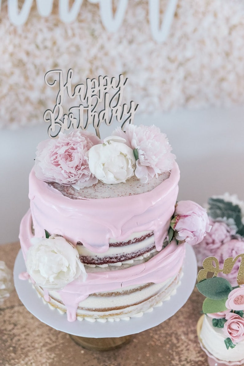 Happy Birthday Cake Topper  Wooden Cake Topper  Laser Cut image 0