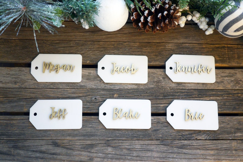 Personalized Christmas Stocking Tags  Laser Cut  First Name image 0
