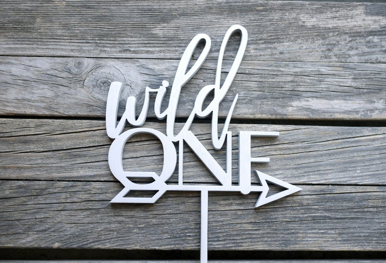Wild One Arrow First Birthday Cake Topper  Laser Cut Wood  image 0