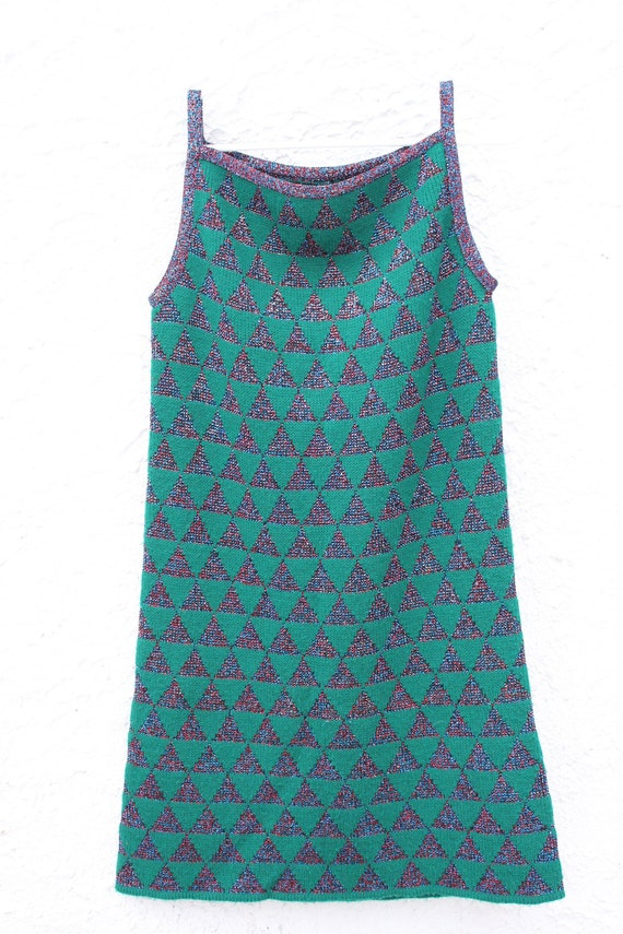 Very original knitted sweater dress green and spar