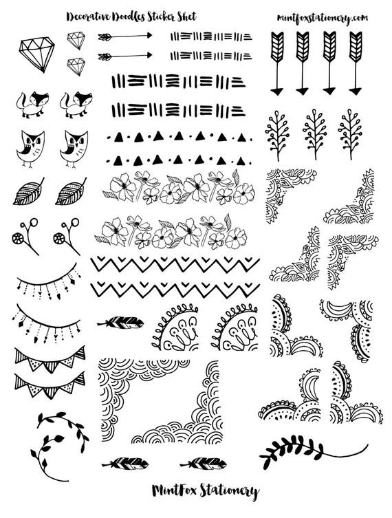 Zeer Decorative Doodles Printable Sticker Sheet PDF Bullet Journal | Etsy #AW49