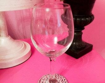 Rhinestone Wine Glass/ Wedding Wine Glass