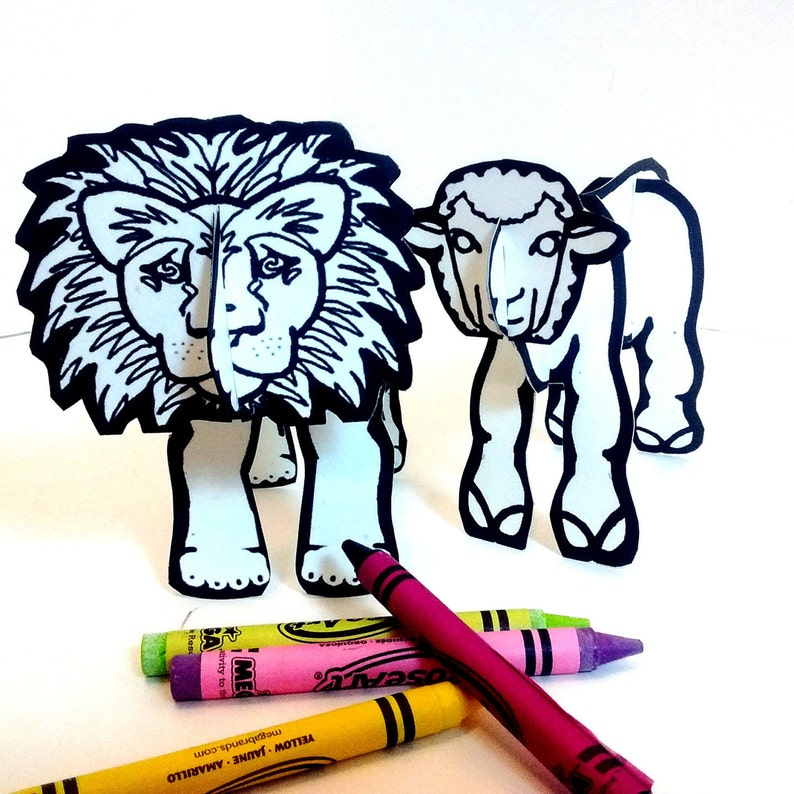 Lion Lamb for Easter and March  Printable Toys image 0