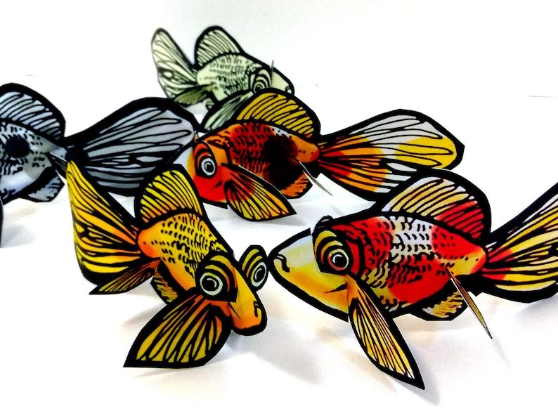 Fish Goldfish Koi Pisces Set of 5  Printable Toy image 0