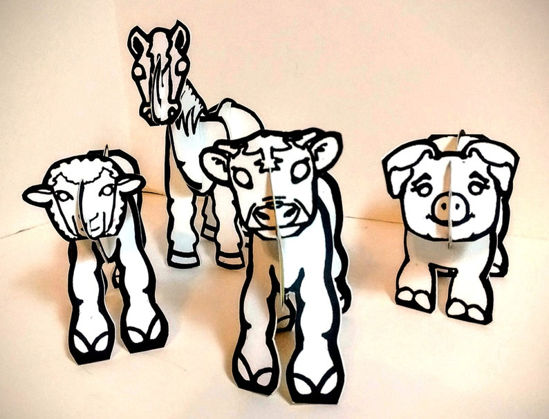 Farm Animals Set  Printable Coloring Toy image 0