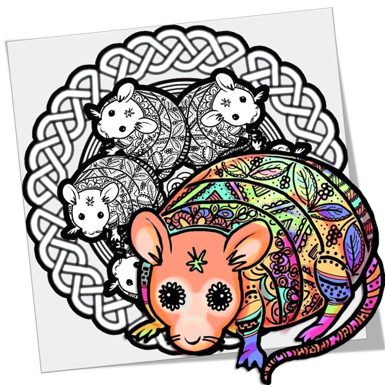 Magic Rat Mandala Coloring Page Printable Download image 0
