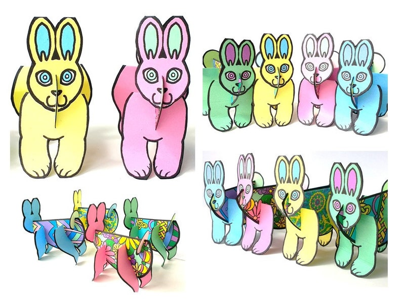 Colored Easter Egg Easter Bunny Set  Printable Toy image 0