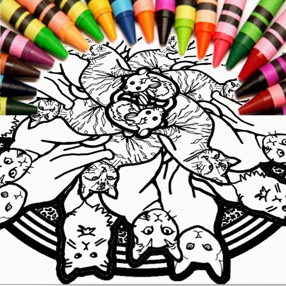Mandala de gato para colorear descargar Imprimir página | Etsy