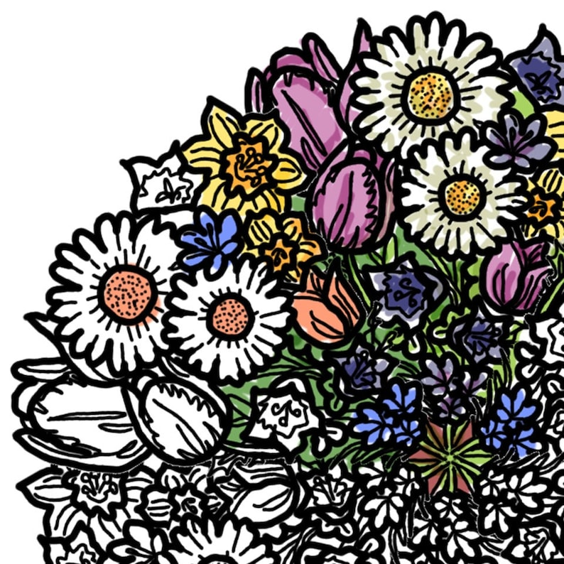 Flowers Mandala Coloring Page Printable Download  Mothers Day image 0
