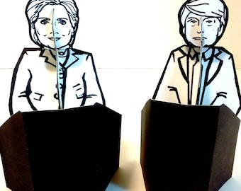 Donald Trump - Hillary Clinton Debate Paper Doll Bundle - Printable Toy