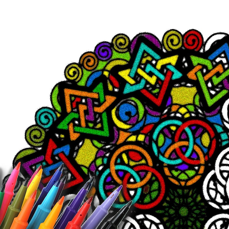 Mandala Coloring Page Printable Download  Geometric image 0