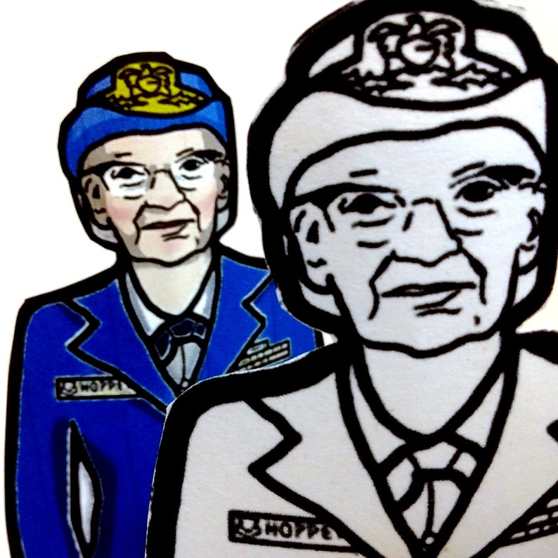 Grace Hopper Printable Coloring Page Paper Doll with stand image 0
