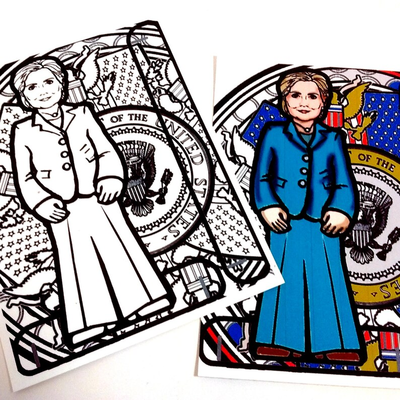 Hillary Clinton Printable Coloring Page Paper Doll with stand image 0
