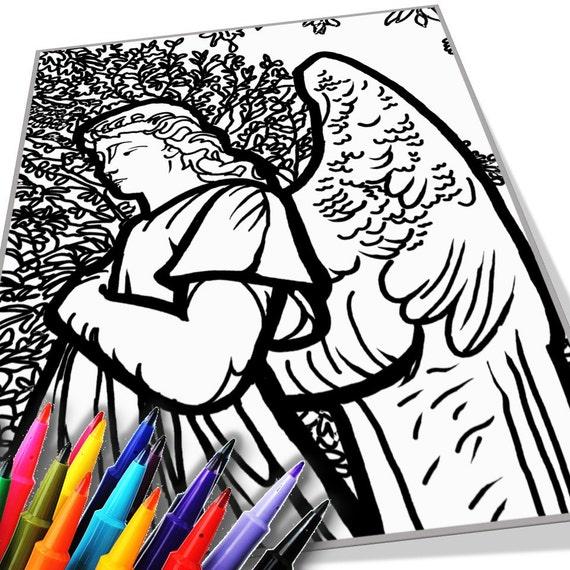Descarga Angel página para colorear para imprimir | Etsy