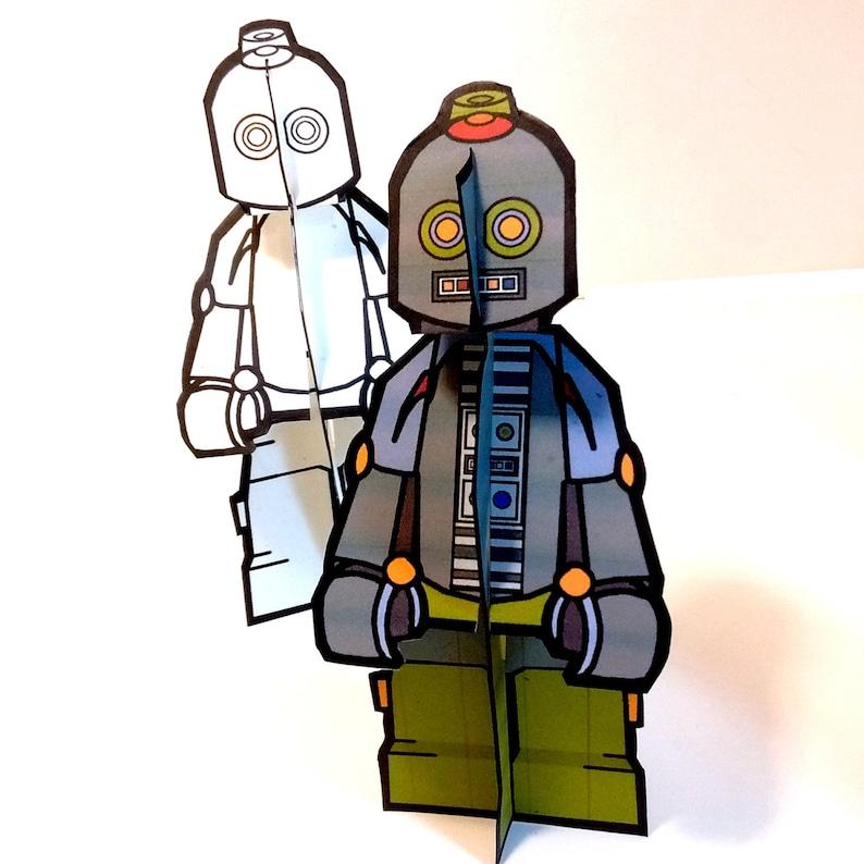 Robot Robot Paper Doll Set  Printable Toy image 0