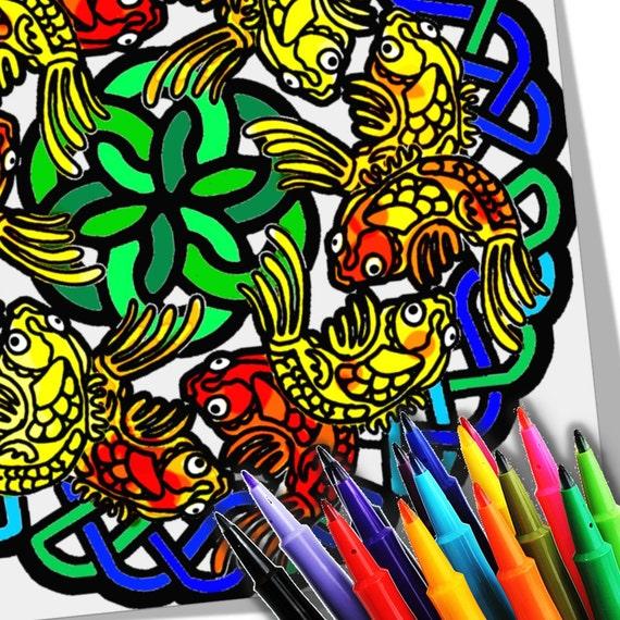 Peces Koi Mandala Para Colorear Descargar Imprimir Página Etsy