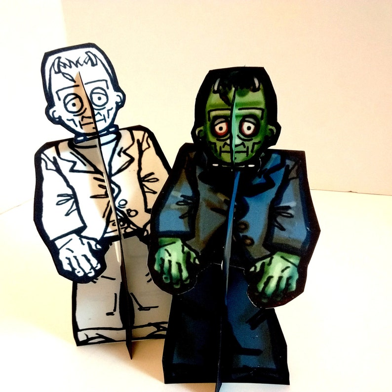 Frankenstein Monster Paper Doll Set  Printable Toy image 0