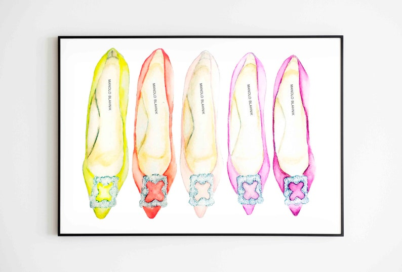 ca9a3518ff2 Manolo Blahnik/shoes/heel/ art print/ multicolor/ pastel/print  /watercolor/Fashion Illustration/fashion home decor/ room decor