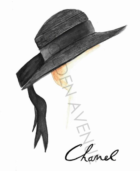 Jahrgang Chanel Hut Coco Chanel Abbildung Vintage Hut Etsy