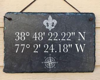 Longitude and Latitude Sign, Longitude and Latitude Plaque, Longitude and Latitude Wall Art, House Coordinates Sign, Wedding Coordinates