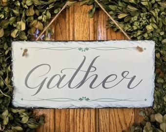 Gather - Fall Sign, Fall Sign, Fall Plaque, Festive Sign, Slate Sign, Thanksgiving Sign Slate Plaque, Autumn Sign, Autumn Plaque, Fall Decor