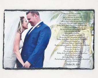 Wedding Anniversary Gift, Wedding Gift, Anniversary Gift, First Dance Lyrics, Slate Song Lyrics Plaque, Wedding vow plaque, Wedding Vow Art