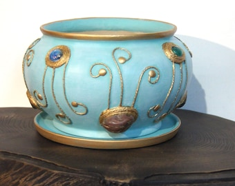 Large hand painted ceramic flower pot Turquoise plant pot Indoor flower pots Pottery pot planter Blue flower container Father's Day gift