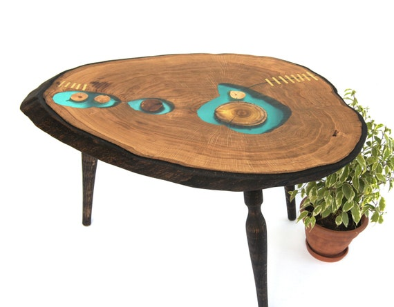 Live Edge Wood Coffee Table Epoxy Table Resin Table Wooden Etsy