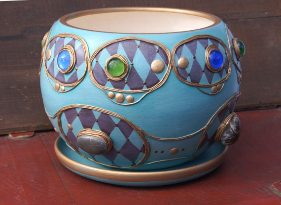 Übertopf Keramik Türkis große bemalte keramik blumentopf türkis Übertopf topf indoor | etsy