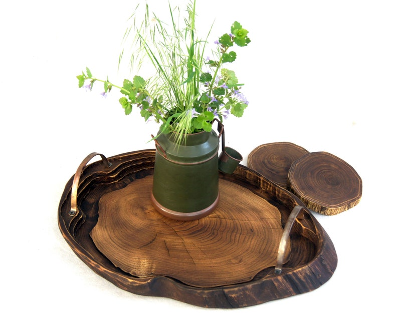 Wooden Breakfast Tray With Copper Handles Rustic Wood Serving Tray Tree Stump Ottoman Tray Live Edge Natural Wood Slab Coffee Table Board