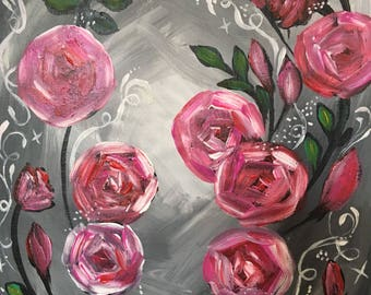 "Pink Roses 10"" x 8"""