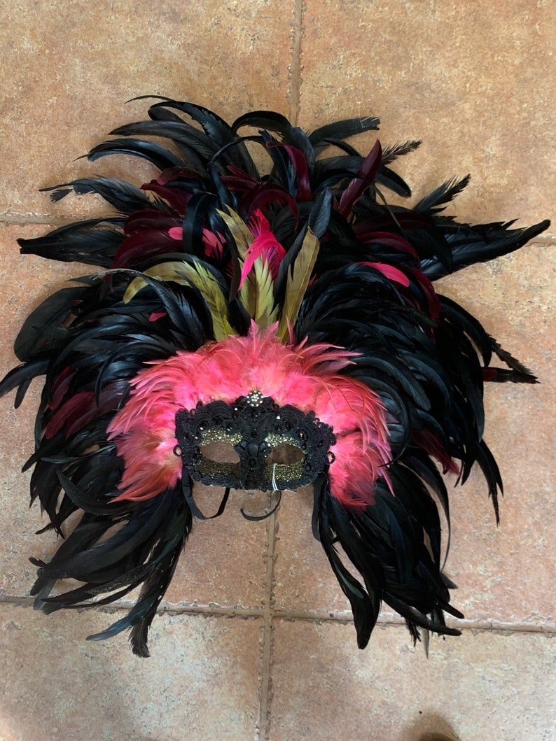 Black pink feathers mask feather headdress masquerade party costume New Orleans Mardi Gras artist made handmade