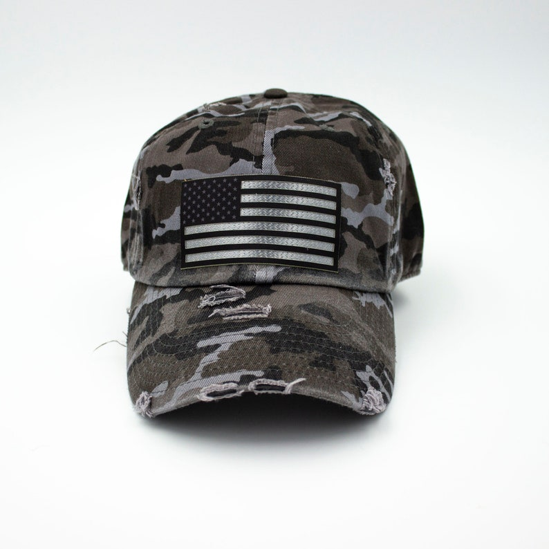 Black American Flag Camo Hat
