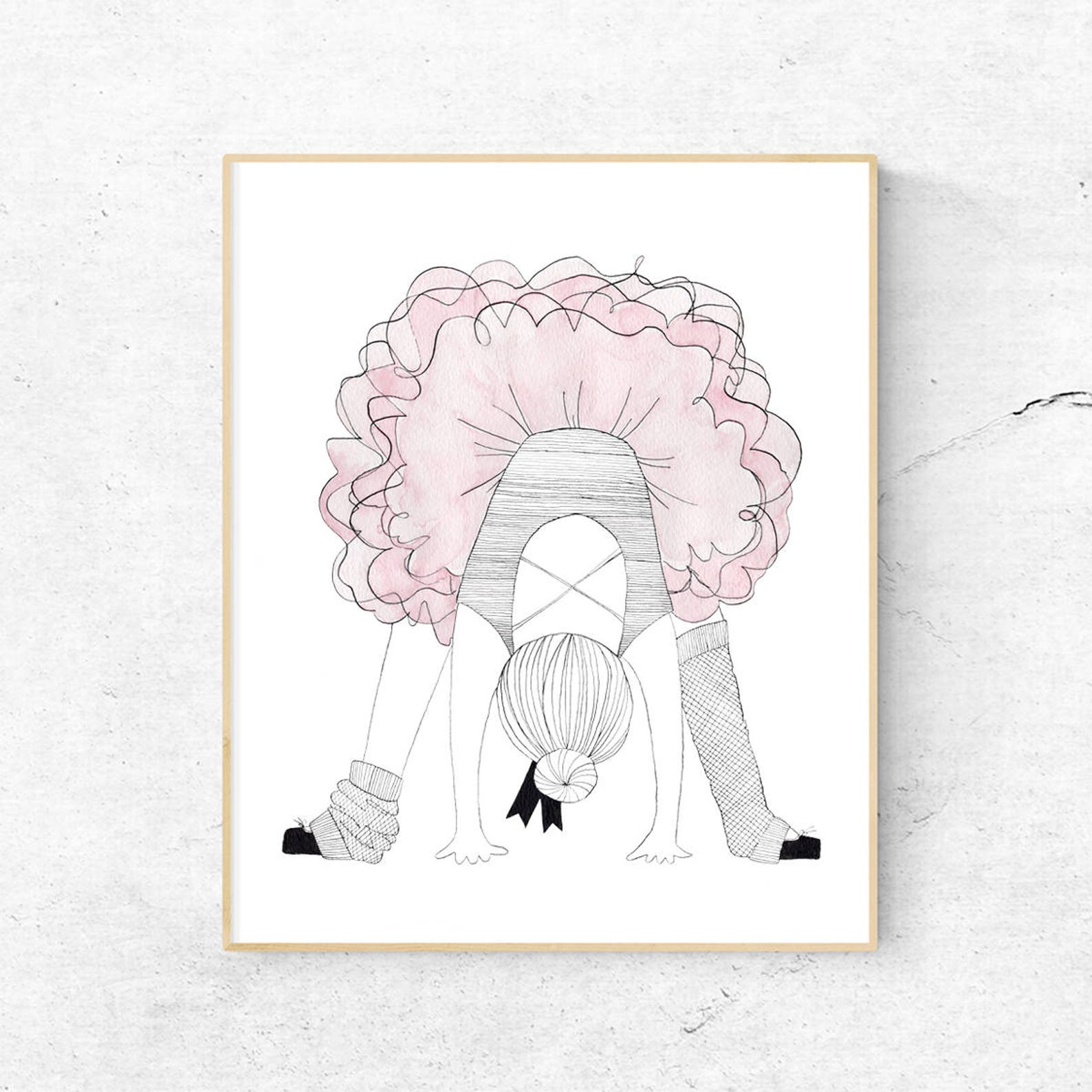 ballerina print | baby girl nursery art | ballet prints wall art | pink kids room decor