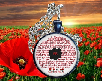In Flanders Field, A.N.Z.A.C poem glass domed pendant. Remberance