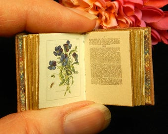 Flowers of the Netherlands: a miniature book in 12th scale hand bound in beige leather with colour antique illustration of beautiful flowers